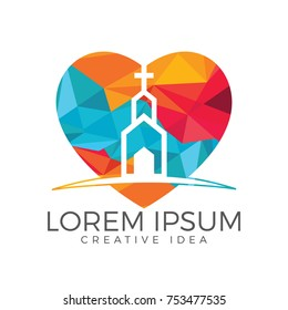 Heart with church building logo design. Template logo for churches and Christian organizations cross.