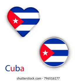 Heart and circle symbols with flag of Cuba. Vector illustration