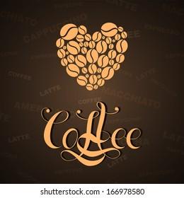 Heart coffee background