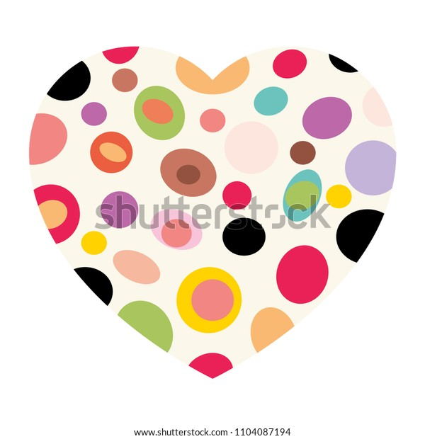 Heart with colored spots, isolated, Vector illustration.