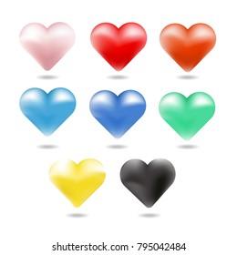 Heart colorful set. Vector illustrator