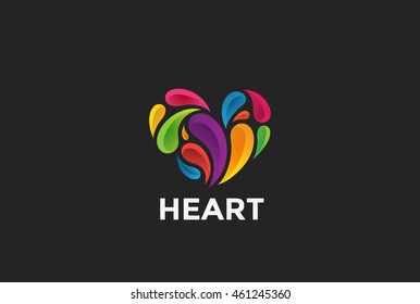 Heart colorful Splashes Logo abstract design vector template. Love Valentines Day Logotype concept icon
