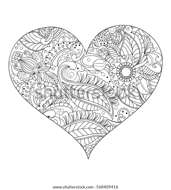 Heart Coloring Page Stock Vector (Royalty Free) 568409416
