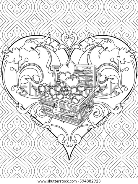 Heart Coloring Page Adult Stock Vector (Royalty Free) 594882923
