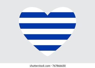 Heart in colors of the Uruguay flag, vector