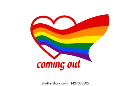 From heart comes a rainbow flag - symbol of pride lgbt and lgbtq. Coming out LGBT icon. Rainbow sign gay, lesbian, transgender in shape of heart and flag. Vector illustration