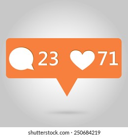 Heart and comment button icon, great for your design
