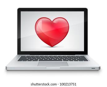 Heart Concept. Laptop on Grey Gradient Background. Vector.