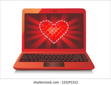 Heart Concept. Laptop on white Background. Vector.