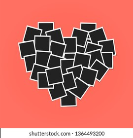 Heart concept made with photo frames isolated. Card, love template design. Living coral - color of 2019 year. Memories concept in modern style. Vector illustration