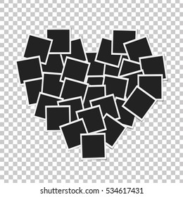 Heart concept made with photo frames isolated. Memories, card, love template design. Vector illustration