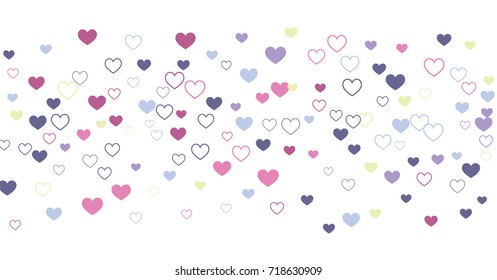 heart confetti Background for Valentine's day, isolated on white, vector illustration with Pink and purple hearts flying, raising up or falling. Love symbols border