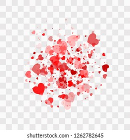 Heart confetti falling down isolated. Valentines day concept. Heart shapes overlay background.