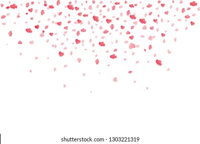 Heart confetti falling down isolated. Valentines day concept. Heart shapes overlay background. Vector festive illustration.