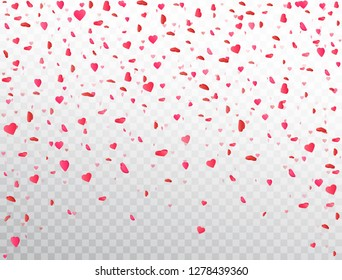 Heart confetti falling on transparent background. Flower petal in shape of heart. Valentines Day background. Color confetti for greeting cards, wedding invitation, gift packages. Vector illustration.