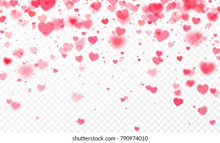 Heart confetti falling on transparent background. Valentines day card template. Vector illustration EPS10