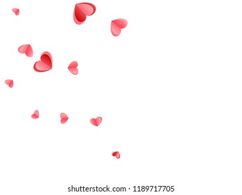Heart confetti flying on white background. Engagement event vector backdrop. Red and rose color folded paper hearts. Couple relations symbols. Decorative elements vector design.