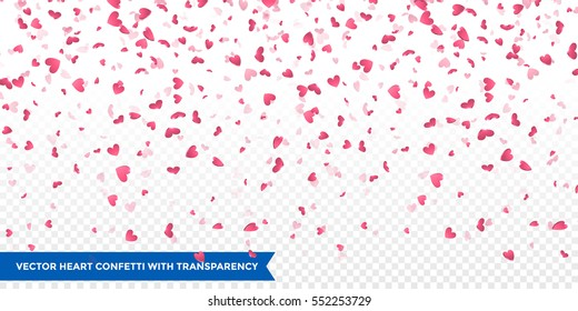 Heart confetti of Valentines petals falling on transparent background. Flower petal in shape of heart confetti for Women's Day