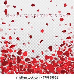 Heart confetti of Valentines petals falling on transparent background. Flower petal in shape of heart confetti for Women's Day.