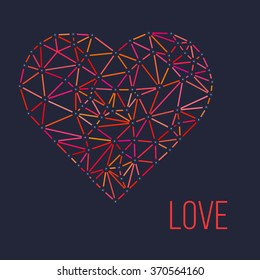 Heart with connected lines and dots. Wireframe mesh polygonal element. Valentines day. Vector illustration