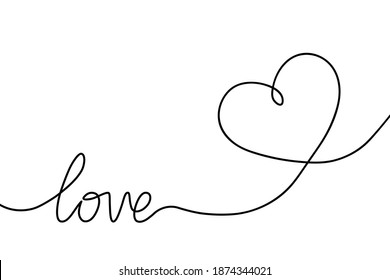 Heart continuous line drawing. Single hand drawn contour heart with word love for romance design, wedding celebration. Shape one heart lineart. Heart fashion icon isolated on white background. Vector
