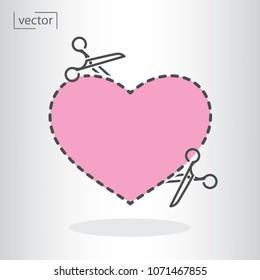 heart contour, scissors, dotted line cut, icon vector