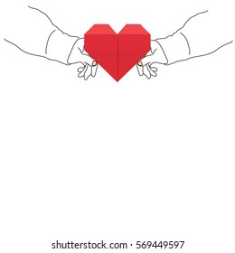 Heart in Couple hand - Vector illustration of romantic gift idea for Valentine's day. Valentine's Day Drawing Concept Couple romantic gift. Paper heart red color.
