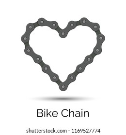 Heart created from a bicycle chain. Bike chain heart shape. Vector symbol.
