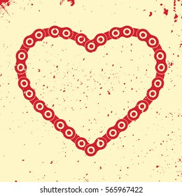 Heart created from a bicycle chain. Bike chain heart.