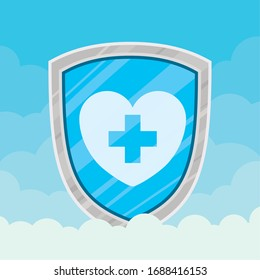 Heart with cross inside shield and clouds design of Medical care health emergency aid exam clinic and patient theme Vector illustration