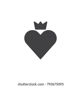 Heart crown icon vector, filled flat sign, solid pictogram isolated on white. Love king symbol, logo illustration.