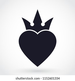 heart crown silhouette symbol