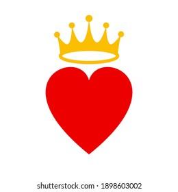 Heart crown symbol flat icon vector illustration.