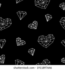 heart crystal seamless pattern. sketch hand drawn doodle style. wallpaper, wrapping paper, textile. minimalism, monochrome. love, valentines day wedding black