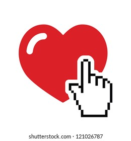 Heart with cursor hand icon - valentines, love, online dating concept