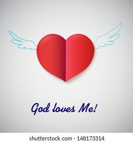 Heart cut out of paper with inscription God Loves me