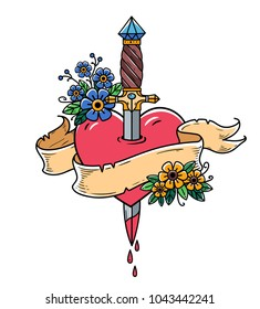 Heart decorated with flowers pierced with dagger. Tatoo ancient dagger piercing heart with dripping blood. Heart with ribbon. Heart bleeding. Retro tattoo. Old school retro vector illustration.