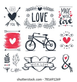 Heart decorative vintage elements, hand drawn collection with arrow, heart, Leave and ribbon