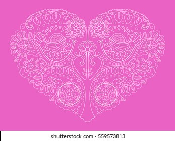 Heart design color vector illustration. Tattoo stencil. Lace pattern