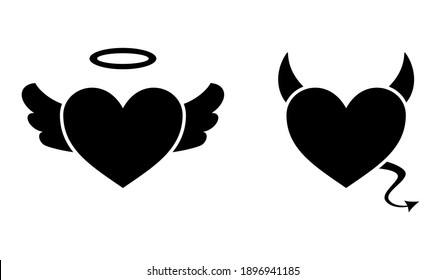 Heart with devil horns and a tail and heart with angel wings and halo isolated on white background, Devil love. Valentine Day concept, Vector illustration
