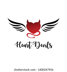 Heart devils with wing icon logo illustration