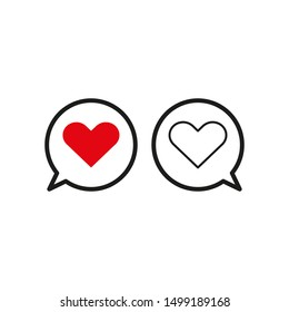 Heart dialogue icon on white background.Vector illustration