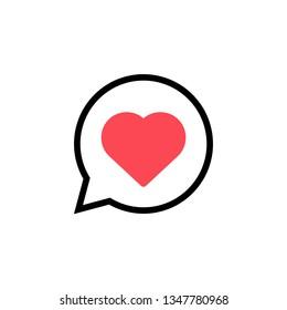 Heart dialogue icon. Vector.