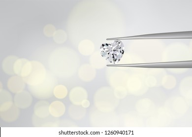 heart diamond hold by silver tweezer on gold blurry light background. Concept for dimond and gem selected for valentine special gift in vector illustration