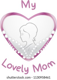 Heart with diamonds for my lovely mom. Symbol for mother day. Vector
