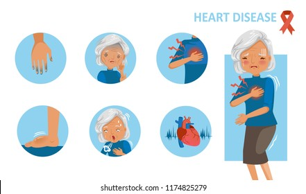 Heart disease and heart attack symptoms. Old woman standing hand holding chest pain. Cyanosis of hand, feelling weak, swelling of feet, trouble breathing, palpitation, Cartoon in  circle infographic.