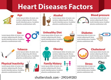 Heart disease factors infographics  with colorful color for for medical. Isolated icon and object