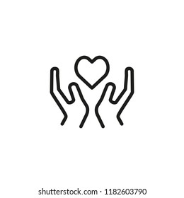 Heart disease prevention line icon. Hand holding heart. Healthcare concept. Can be used for topics like medicine, charity, wellbeing, medical inspection