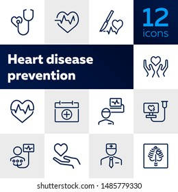 Heart disease prevention line icon set. Stethoscope, surgery, cardiogram, first aid kit. Medicine concept. Can be used for topics like heart attack, medical help, hospital