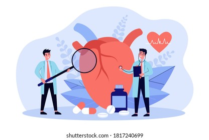 Heart disease research concept. Tiny cardiologist studying big heart model among drugs and heartbeat diagram. Vector illustration for cardiovascular system, cardiology, medical examination topics